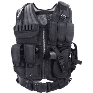 yakeda black tactical vest for hunting, paintball, and airsoft