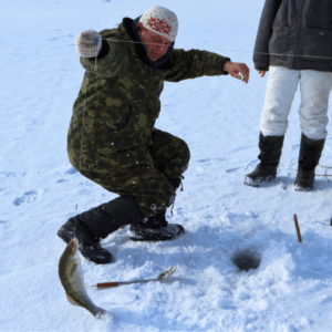 ice fishing with a leader